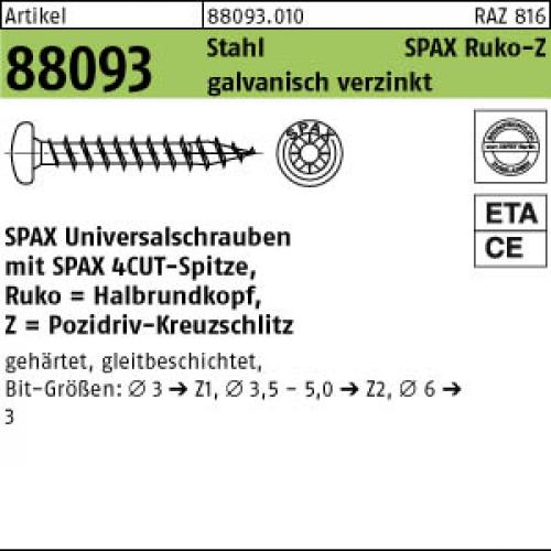 100 x SPAX Spanplattenschrauben Senkkopf-Spax-S mit TORX T20 4,5X60//galvanisch v
